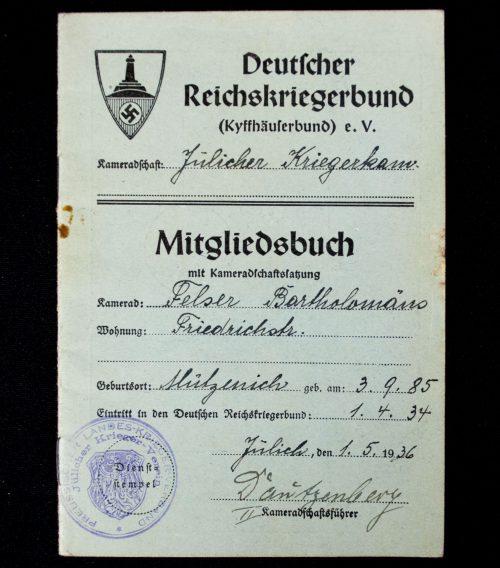 Deutscher Reichskriegerbund Kyffhäuserbund E.V. Mitgliedsbuch