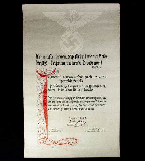 Large citation for 26 years of loyal Duty in Neuwied 1937 (61 x 39 cm)