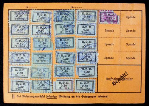 N.S. Volkswohlfahrt Mitgliedskarte