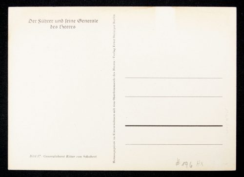 Postcard: Generaloberst Ritter von Schobert