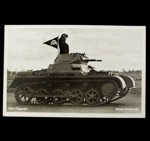 Postcard Unsere Wehrmacht (Panzer with skull flag)