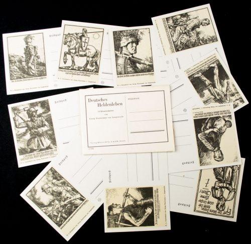 Postcards Deutsches Heldenleben 10 Feldpost postkarten from Georg Sluyterman von Langeweyde