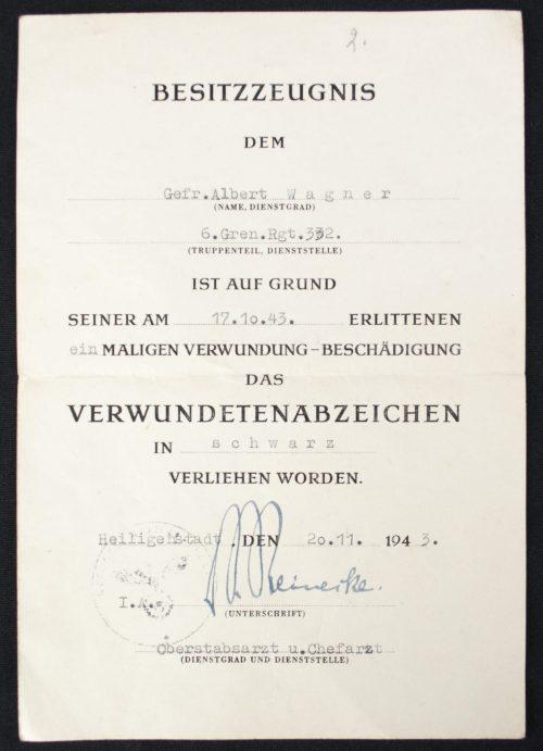 Verwundeten abzeichen Schwarz + Urkunde Black Woundbadge + Citation