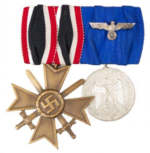 WWII German Medalbar with Kriegsverdienstkreuz (KVK) + Dienstauszeichnung