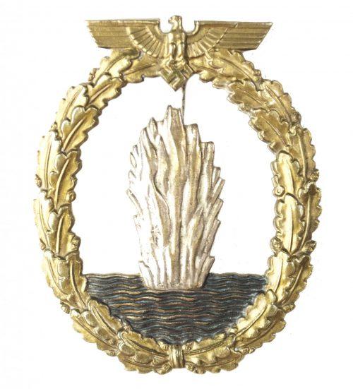 WWII German Minensucher buntmetal abzeichen Minesweeper Badge (maker Otto Schickle)