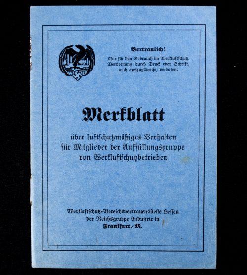 Werkluftschutzbetrieben (Luftschutz) Merkblatt booklet (rare!)