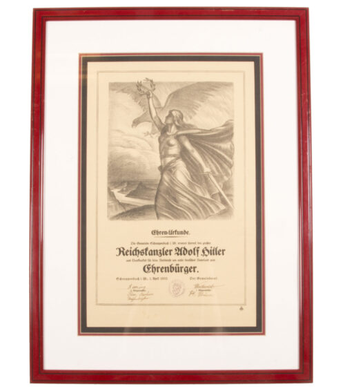 Adolf Hitler Honorary Citizenship Citation of Schneppenbach