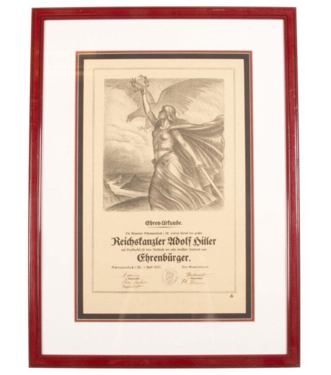 Adolf Hitler Honorary Citizenship Citation of Schneppenbach