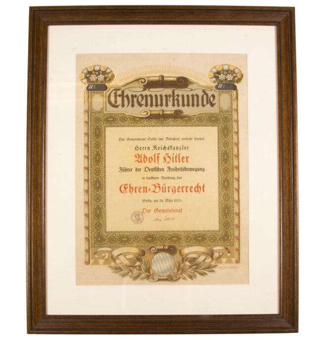 Adolf Hitler Honorary Citizenship Citation of Solln