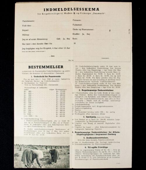 (Denmark) Waffen-SS og Frikorps Danmark Indmeldelsesskema for Krigsfrivillige
