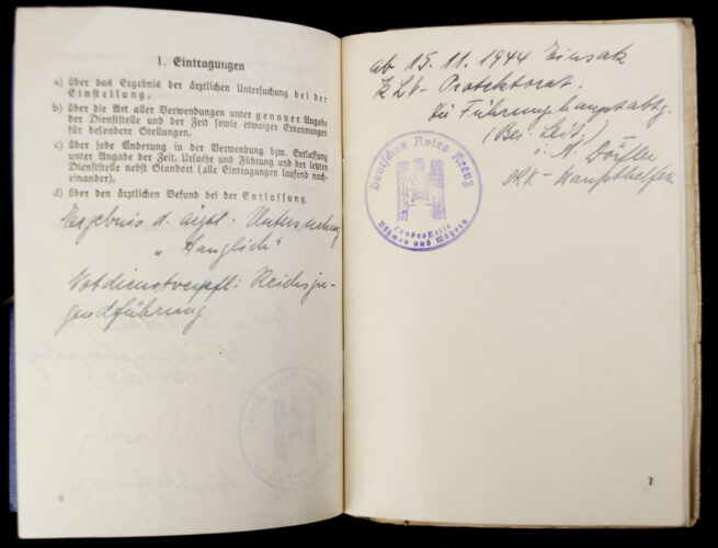 Deutsches Rotes Kreuz (DRK) Dienstbuch (1944)