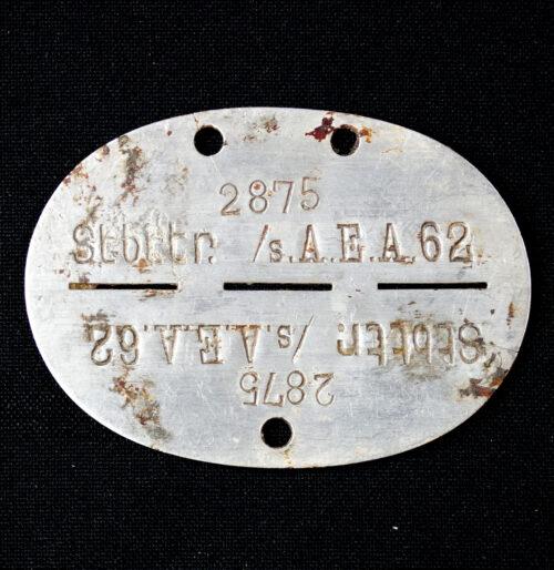 Erkennungsmarke Artillerie STBTTR. s.Artillerie Ersatz Abteilung 62