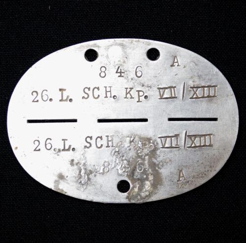 Erkennungsmarke (EKM) 26. Landesschütz Kompanie VIIXIII 846A