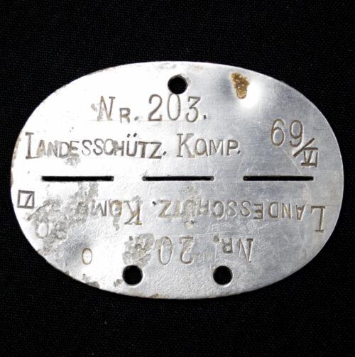 Erkennungsmarke (EKM) Landesschütz. Komp. 69VI No.203