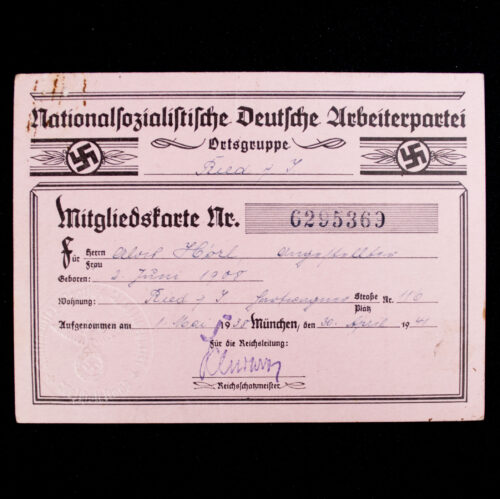 NSDAP Mitgliedskarte 1938 NSDAP membercard (1941)