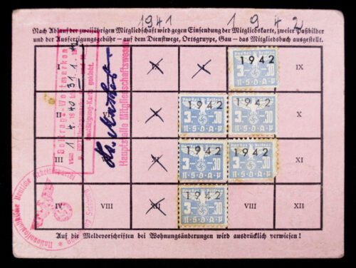 NSDAP Mitgliedskarte 1938 NSDAP membercard from Saalfelden (1940)