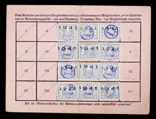 NSDAP Mitgliedskarte 1938 NSDAP membercard from Wien (1940)