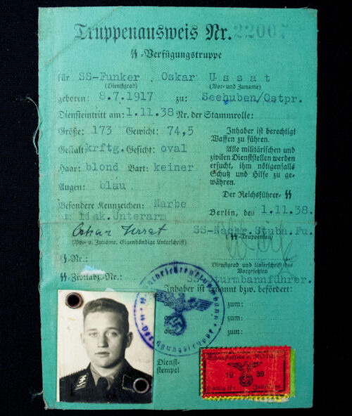 SS-Verfügungstruppe - SS-Funker Truppenausweis SS-Nachr-Stuba-Fu