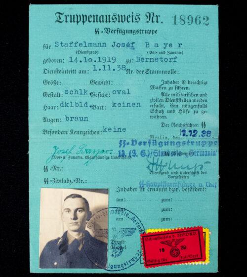 """SS-Verfügungstruppe - Truppenausweis SS Standarte """"Germania"""""""