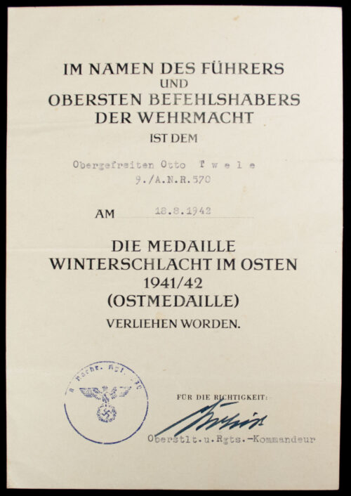 Two citations (Kreigsverdienstkreuz + Ostmedaille) from 9. A.N.R. 570