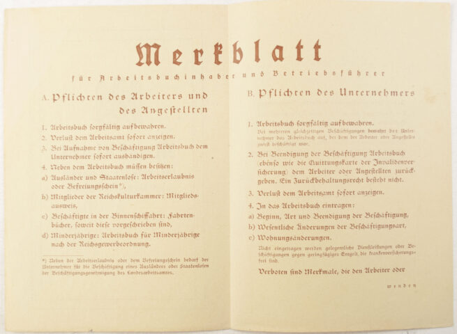 Arbeitsbuch Arbeitamt Trier (1938) - extremely full stamped!