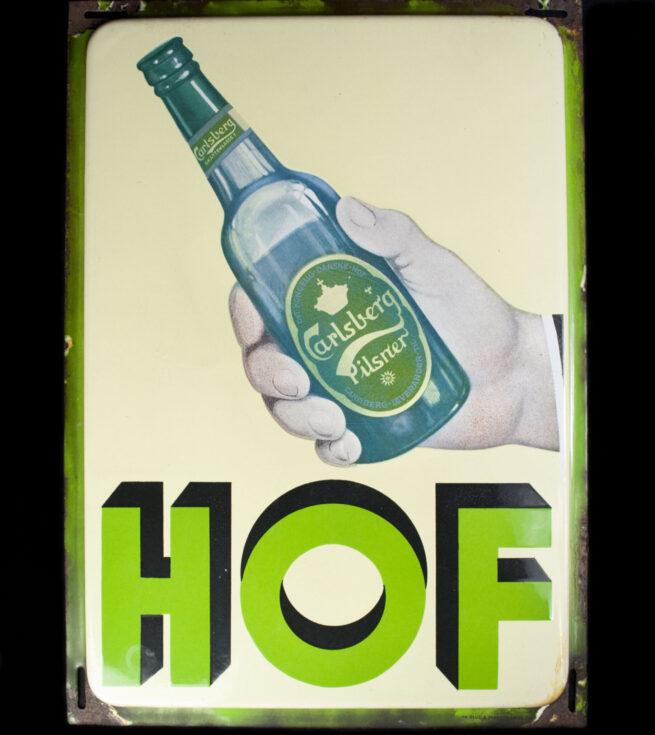 (Denmark) Carlsberg HOF Beer enameld shield with swastika (1930's)