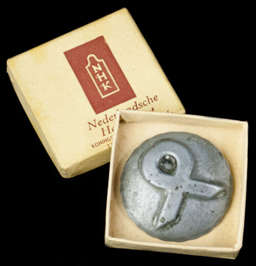 (NSB) Nederlandsche Heemkunst cultural Odal-rune runic brooch with original case (EXTREMELY RARE!)