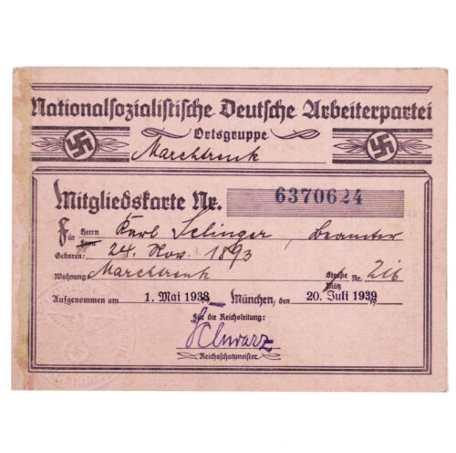 NSDAP Mitgliedskarte 1938 NSDAP membercard from Marchtrenk (Austria!) (1938)
