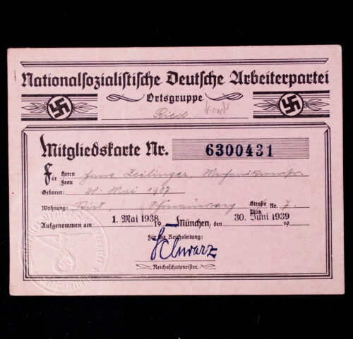 NSDAP Mitgliedskarte 1938 NSDAP membercard from Ried