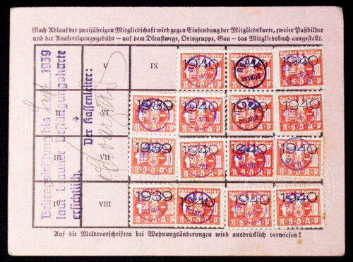 NSDAP Mitgliedskarte 1938 NSDAP membercard from Ried (1938)