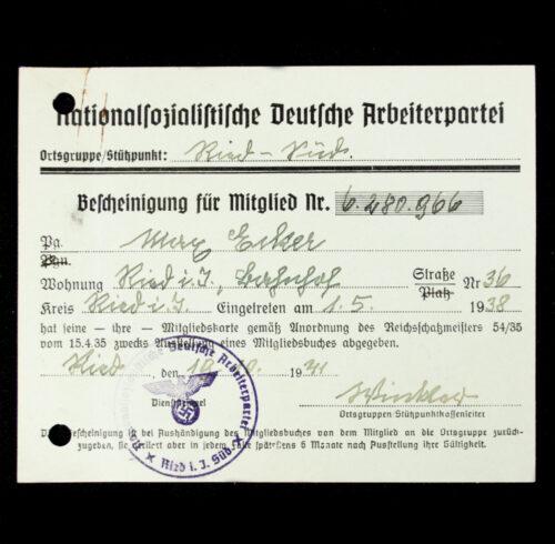 NSDAP Mitgliedskarte 1938 NSDAP membercard from Ried Süd (1938)
