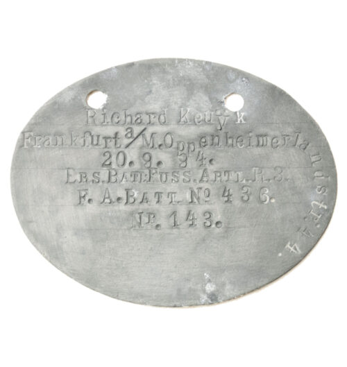 WWI Erkennungsmarke from Ers.Batl.Fuss.Artl.R.3