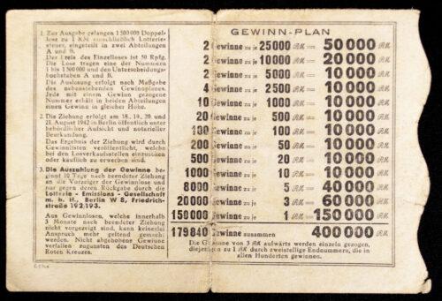 DRK Lottery Ticket - Geld Lotterie für das Deutsche Rote Kreuz (1942)