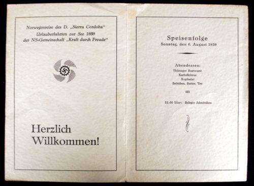 Die Deutsche Arbeitsfront (DAF) N.S. Gemeinschaft Kraft duch Freude (KDF) Menu card 1939