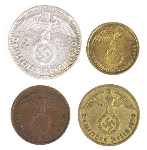 Four period German WWII coins (2 Reichsmark + 2, 5, 10 Reichspfennig)
