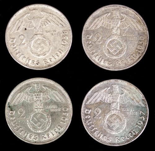 Four silver 2 Reichsmark coins (1937, 1938, 1939, 1939)