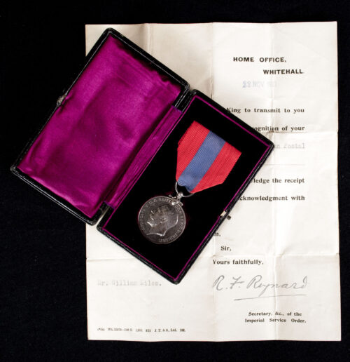 Imperial Service Medal + Case + Citation (1921)