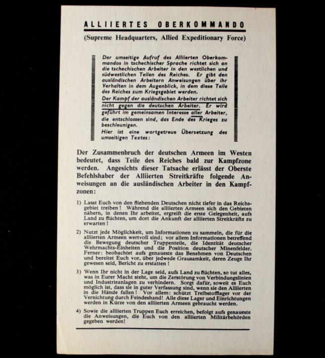 (Leaflet) Dělníci - Alliertes Oberkommando WG.7c (1944)