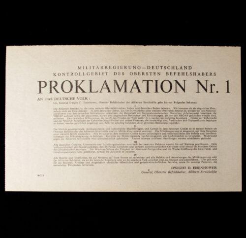 (Leaflet) Militärregierung Deutschland -Kontrolgebiet des obersten Befehlshabers - Proklamation Nr.1 WG.12 (1945)