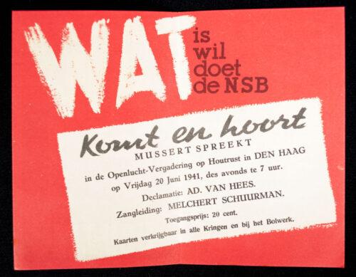 (NSB) Flyer + Stamp Met Mussert Hou-Zee