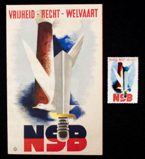 (NSB) Flyer + Stamp Vrijheid - Recht - Welvaart