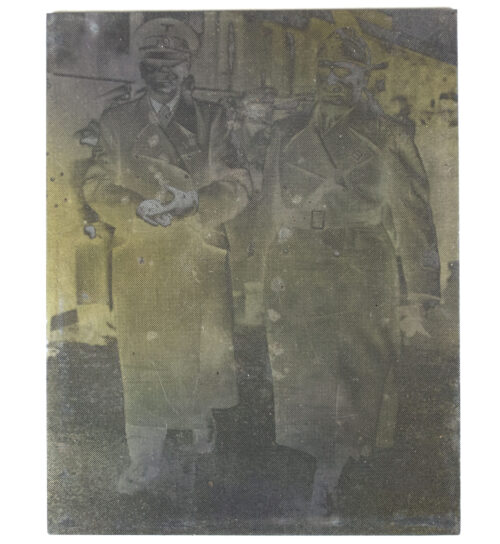 Original newspaper photo printing plate of Adolf Hitler + Mussolini from 1943
