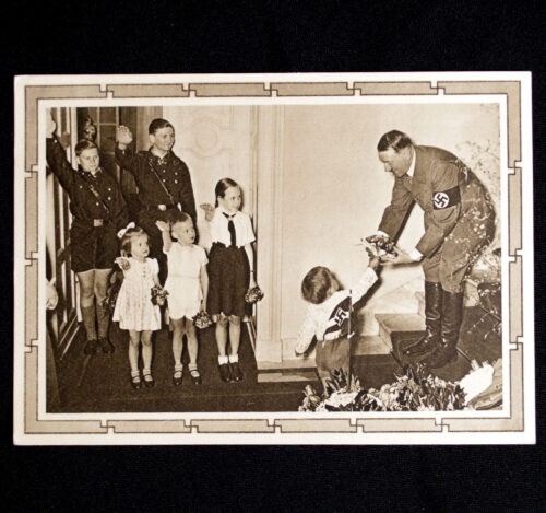(Postcard) Adolf Hitler with children