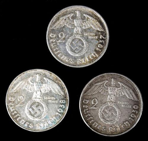 Three silver 2 Reichsmark coins (1937, 1938, 1939)