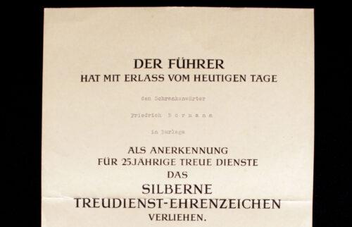 Citation 25 Jahre Treue Dienste Kreuz