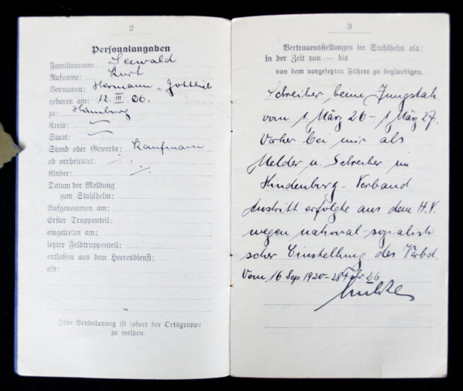 Der Stahlhelm Bund der Frontsoldaten Mitliedsbuch (Jungstahlhelm + Stahlhelm landsturm!)