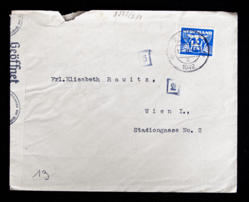 Dutch watime letter openend and stamped by the Oberkommando der Wehrmacht (1942)