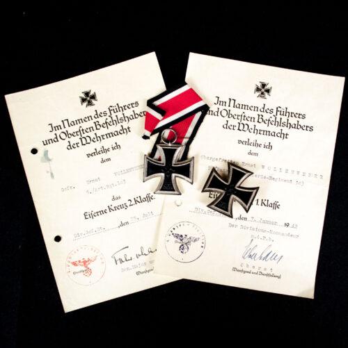 Eisernes Kreuz 1. + 2. Klasse + Urkunden group (5. Panzer-Artillerie-Regiment 103)