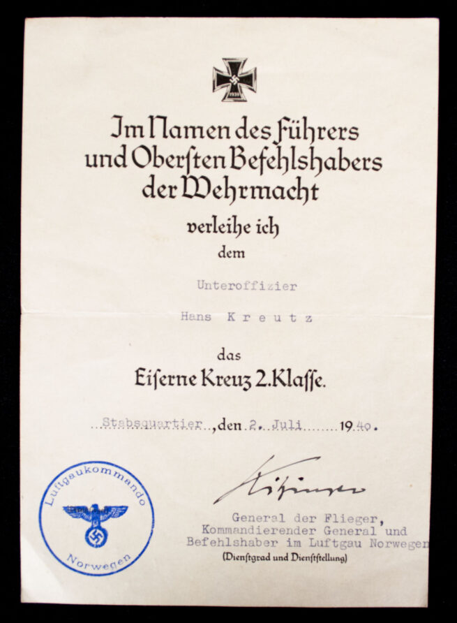 Eisernes Kreuz 2. Klasse + Urkunde Luftgau Norwegen(1940) (with general signature!)