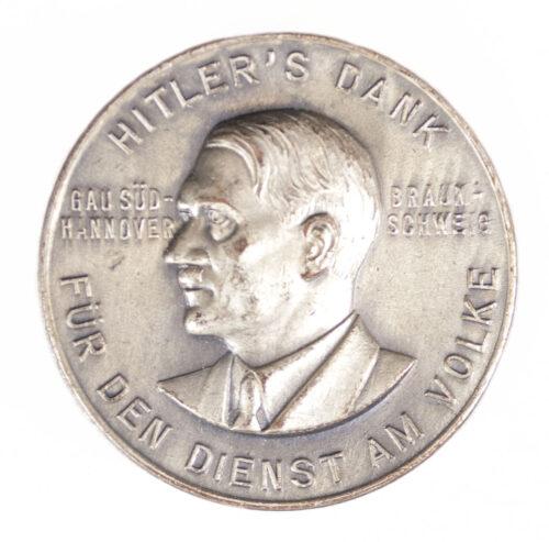 Gau Süd-Hannover Braunschweig Hitler's Dank für den Dienst am Volke abzeichen